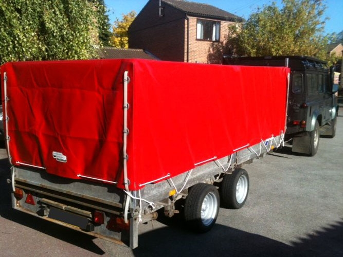 Fitted Ifor Williams trailer cover with access